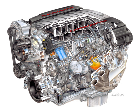 "2014 ""LT-1"" 6.2L V-8 VVT DI (LT1) for Chevrolet Corvette - David Kimble Illustration"