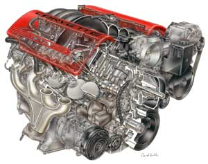 The new LS6 V8 delivers 405 horsepower at 6000 rpm and 400 lb-ft of torque at 4800 rpm.